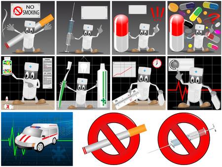 Collection d'icônes avec l'image de la bande dessinée, la voiture de l'aide médicale et interdisant les signes