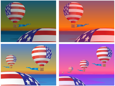 Four pictures with the image of flying balloons against a sea landscape at various times days Stock Vector - 7536067