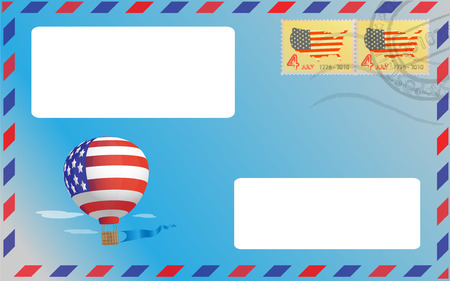 pasted: Ballon represented on a blue envelope with two pasted stamp Illustration
