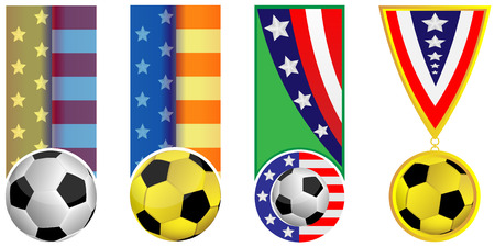 sumbol: Football and flag of the USA executed in the form of a banner and medal on a white background