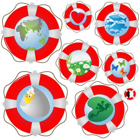 requiring: Collection on lifebuoys with the image of representatives requiring protection