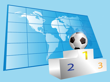 Sports pedestal and football against a world map Vector