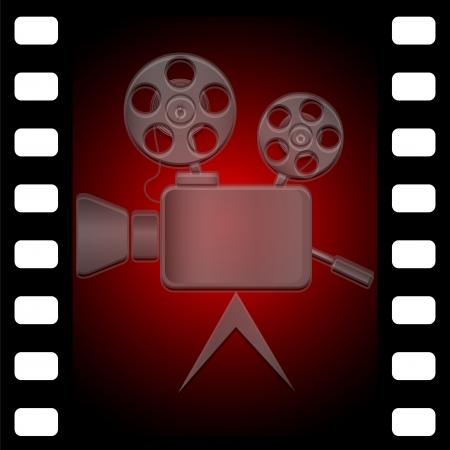 Obsolete movie camera against a color film Illustration