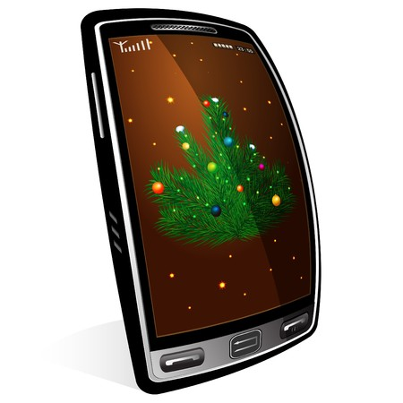 prompt: Christmas tree located against the touch display of a modern mobile phone Illustration