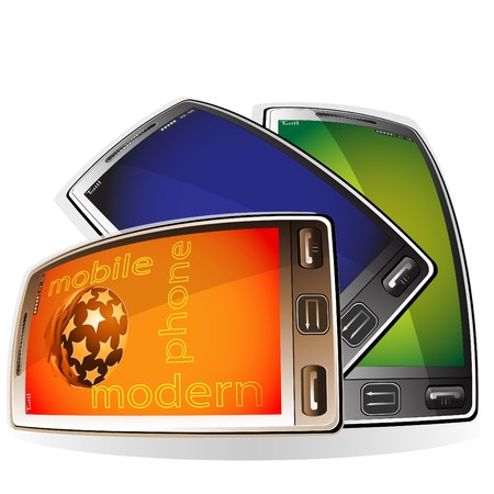 Three  modern mobile phones with the touch screen on a pure background Illustration