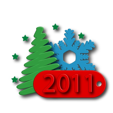 Date of New Year,Christmas tree and snowflake on a pure background Stock Photo