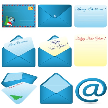 Collection of pictures consisting of envelopes and letters of various forms on a pure background