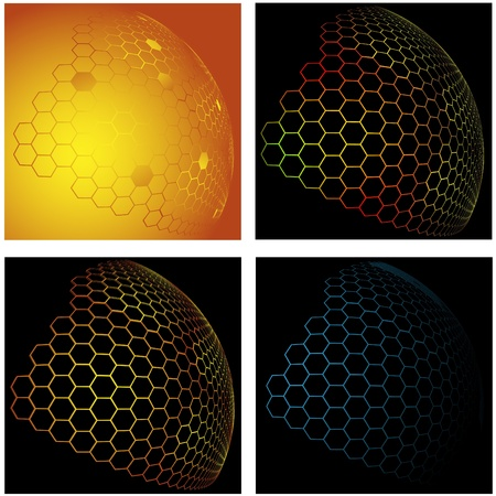Collection from four pictures with the image of an abstract background made of beer honeycombs in the form of a hemisphere
