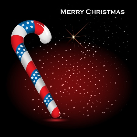 Christmas cane made of flag strips USA on a darkly red background