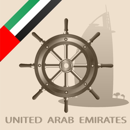 neutrality: Flag of the United Arab Emirates and steering wheel on a light background with the image of a silhouette of a building