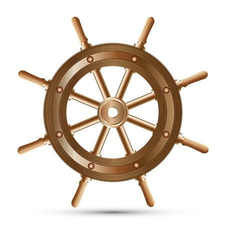 Sea-craft steering wheel on a white background