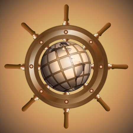 Steering wheel and the globe located on a brown background Stock Photo