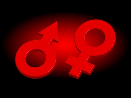 continuation: Male and female signs on darkly red background