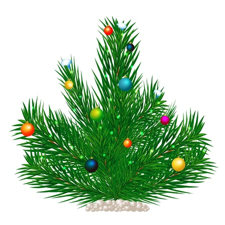 Christmas tree and ornaments on a pure background