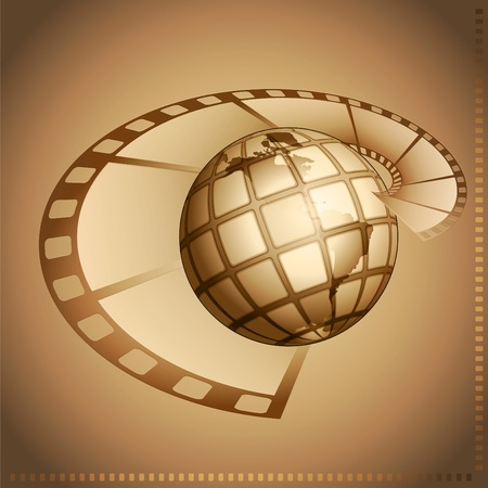 brightly: Film and the globe on brightly brown background Stock Photo