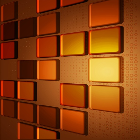 Mosaic from transparent tiles on a brown background