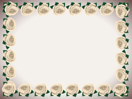 Framework made of white roses covered with dew on a light background Vector