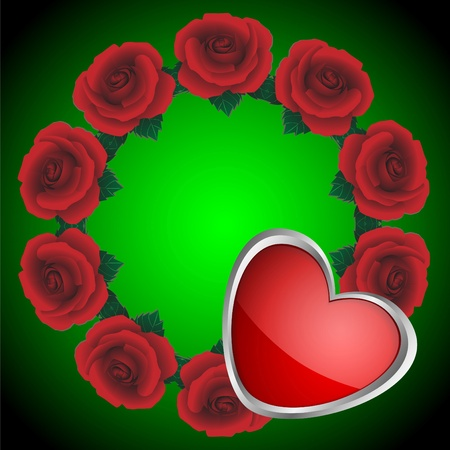 Wreath from red roses and heart on a green background Illustration