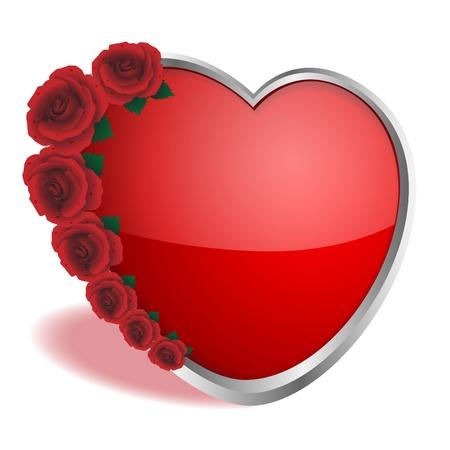 Rozen van rode kleur en hart op een witte achtergrond