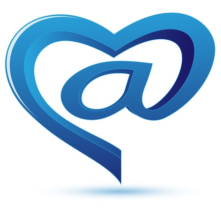 Sign on e-mail of blue color in the form of heart on a pure background