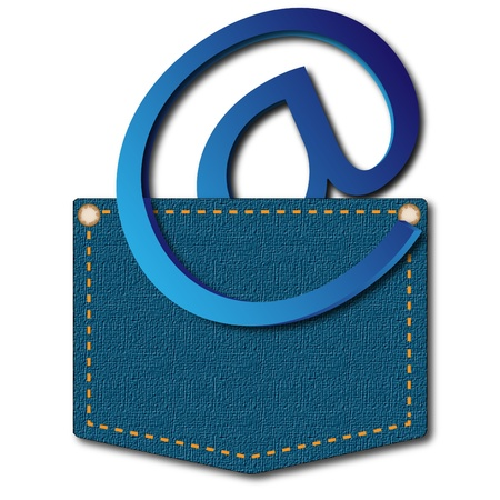 Email sign in clothes pocket on a pure background Stock Photo