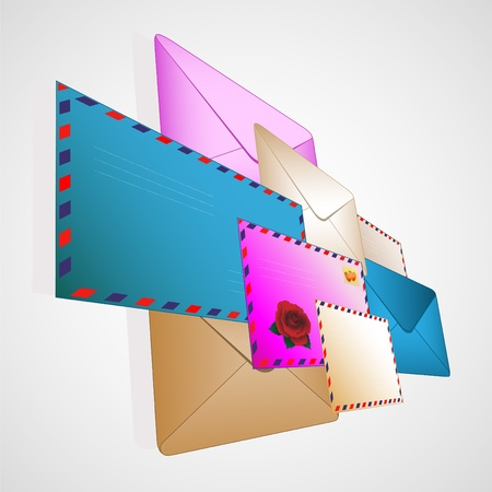 Collection of color post envelopes on light a background