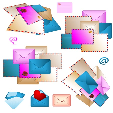 Some various collections consisting of post envelopes of different color Stock Photo - 8525121