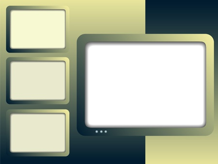 tv monitor: Frameworks in the form of television monitors on an abstract background in green tones Illustration