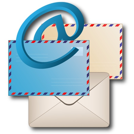 Sign email and envelopes on a white background
