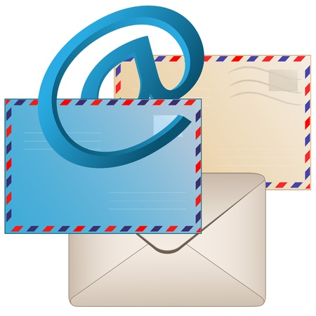 Sign email and envelopes on a pure background