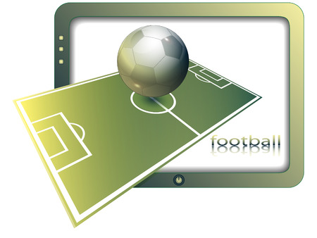 Football ground and ball against the screen of the modern TV