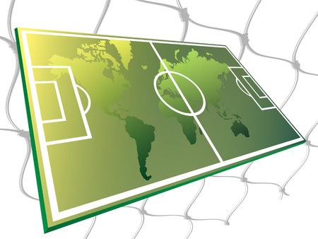The world map located on the soccer field Vector