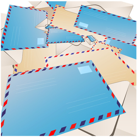 considerable: Abstract background made of a considerable quantity of envelopes Illustration