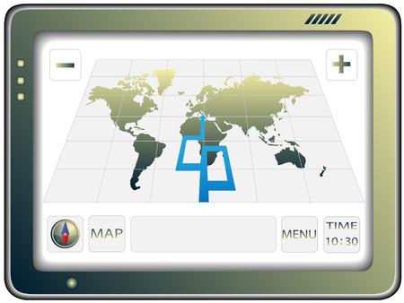 satellite navigation: El navegador GPS port�til con el mapa del mundo ubicado de la pantalla Vectores