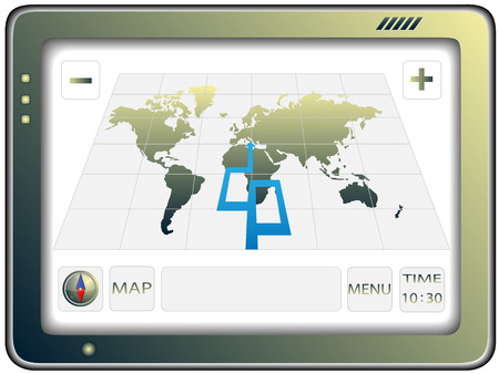 gps navigator: The portable GPS navigator with the world map located of the screen