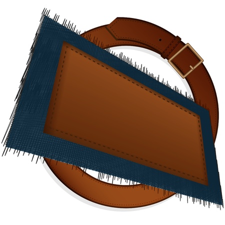 sewn: Leather belt with a metal plate and a piece of a jeans fabric with the sewn label on a pure background