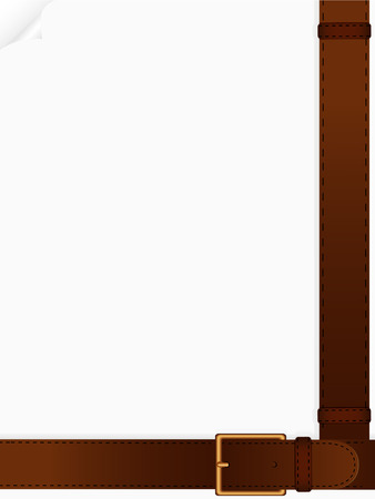 Two leather belts located on a blank sheet of paper Vector
