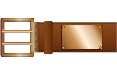 leather stitch: Fashionable belt with a metal plate and copper label located on pure background Illustration
