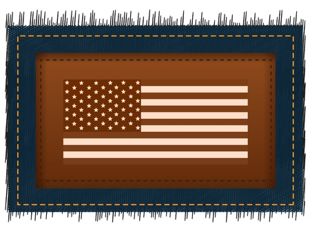 Flag USA and label located on a abstract background made of jeans fabric photo