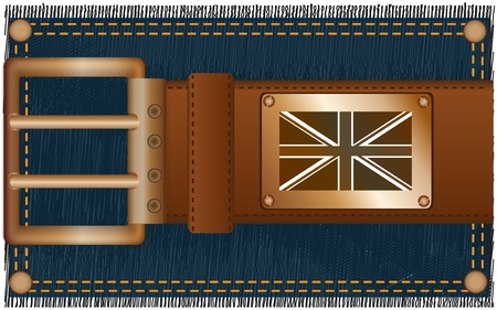 Fashionable leather belt with a copper label and a flag against a jeans fabric Stock Photo - 8759863