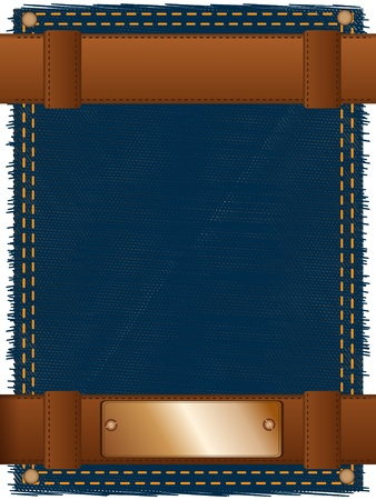 Abstract background made of two leather belts and a copper label located on a piece of a jeans fabric photo