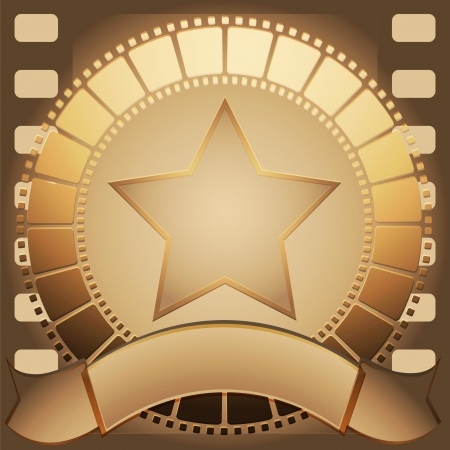 Cadre film star and banner brown color Stock Vector - 8880022