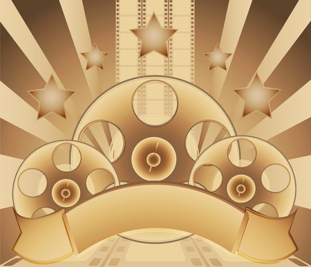Reels film and stars on a abstract bacground Vector