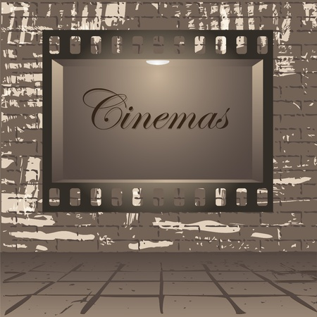Empty publicity board with illumination made in the form of a photographic shot against a gray wall  Vector