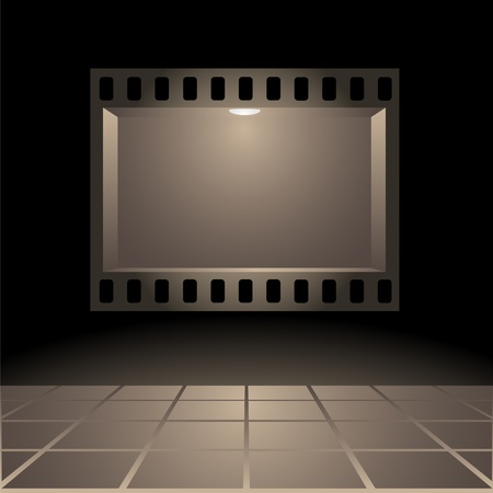 fixture: Empty publicity board with illumination made in the form of a photographic shot against a dark background Illustration