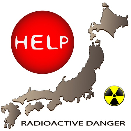 seismic: Map of Japan and a sign on radioactive danger