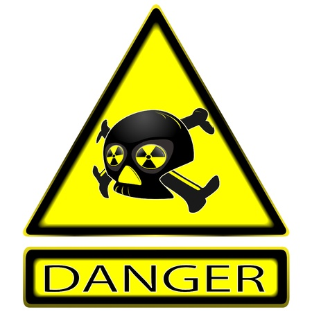 dangers: sign of radioactivity with a skull and a plate with an inscription on a clean background