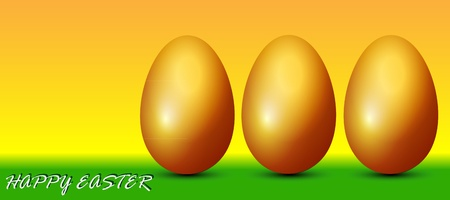 Easter eggs are golden brown on a greeting card Vector