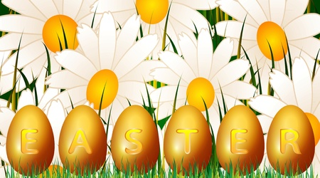 Easter eggs on the background of flower fields Vector
