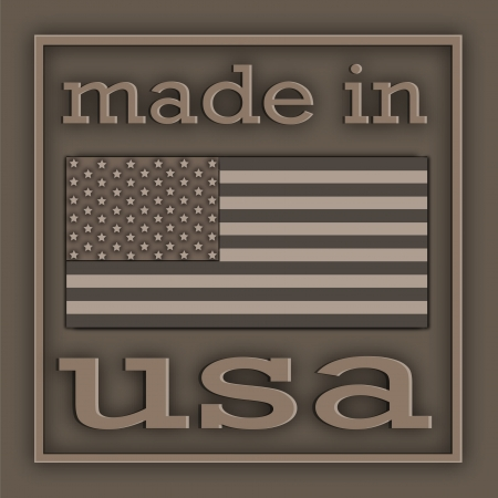 made: The American symbolics and inscription located on metal plate Stock Photo
